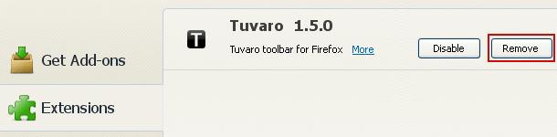 Remove Tuvaro extension in Firefox