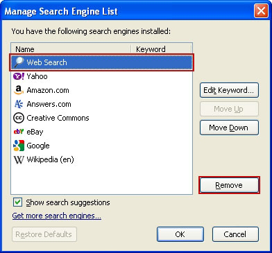 Get rid of iMesh from search engines list in Firefox