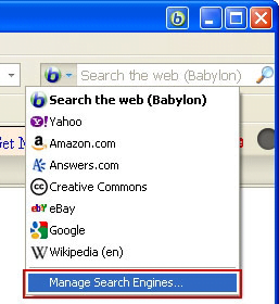 Access the Manage Search Engines interface in Mozilla