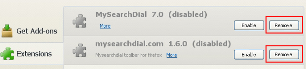 Remove MySearchDial extension from Firefox
