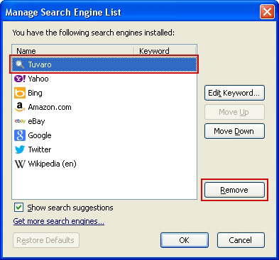 Remove Tuvaro from search engines list in Firefox