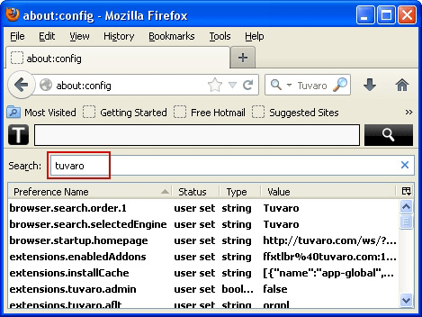 Reset all Firefox preferences related to Tuvaro