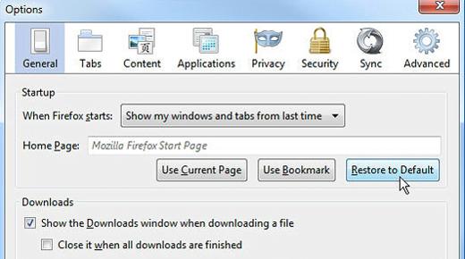 Restore Mozilla Firefox default homepage