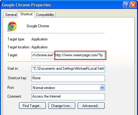 Restore correct Google Chrome shortcut configuration