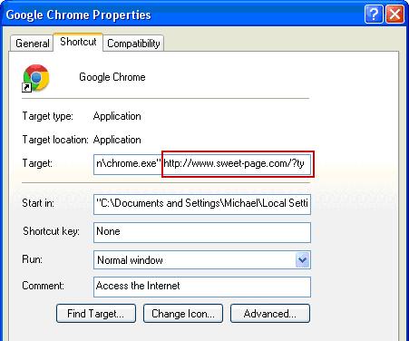 Restore correct Google Chrome shortcut configuration