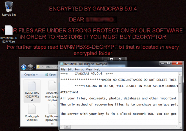 GandCrab 5.0.4 ransomware wreaking havoc with an infected host
