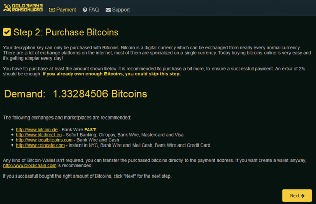 Goldeneye payment page