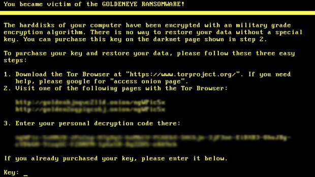 Goldeneye ransomware warning