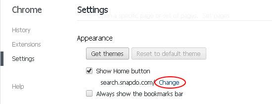 Modify the Show Home button value in Chrome