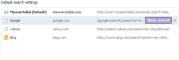 Default search settings GUI in Chrome