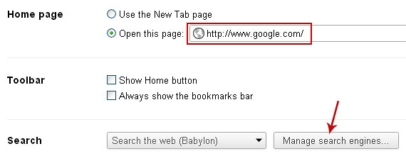 Go to Manage search engines in Chrome
