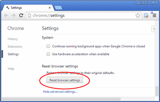 Reset browser settings button in Chrome