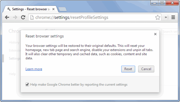 Confirm that you wish to reset Chrome to its defaults