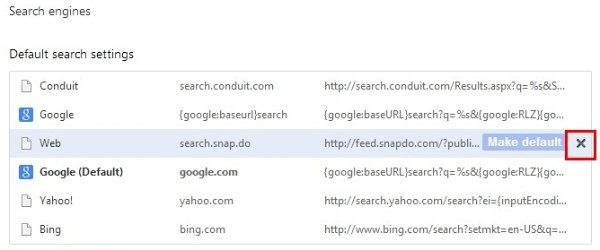 Eliminate Search.snapdo.com from Chrome search engines list
