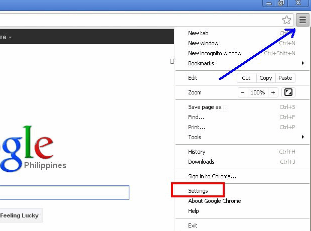 Access Google Chrome settings