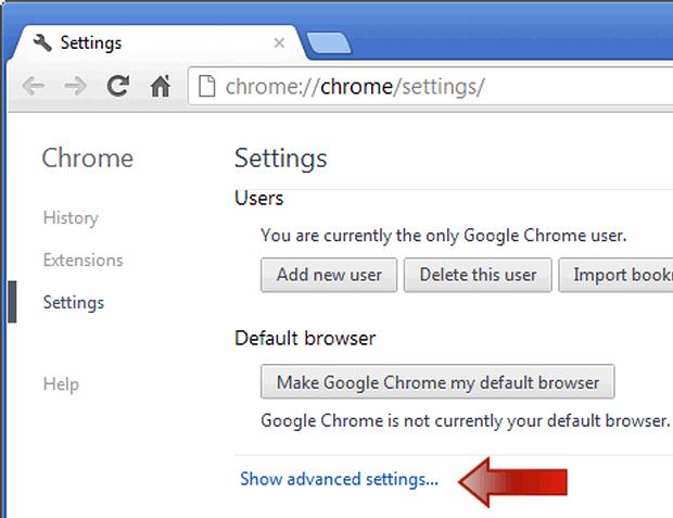 Select the Show advanced settings option