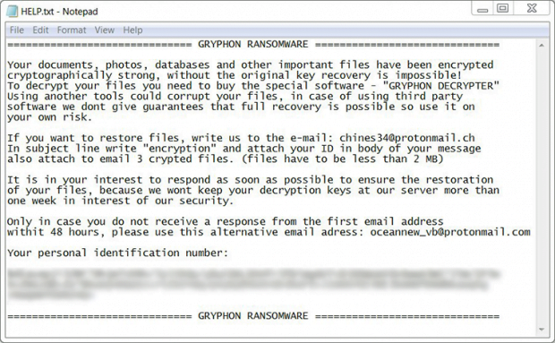 Gryphon ransomware HELP.txt ransom note
