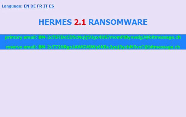 Hermes 2.1 ransom note