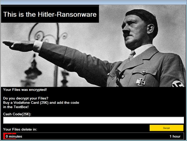 The verbose Hitler-Ransomware warning screen