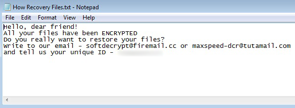 How Recovery Files.txt ransom note telling the victim to contact criminals at softdecrypt@firemail.cc or maxspeed-dcr@tutamail.com