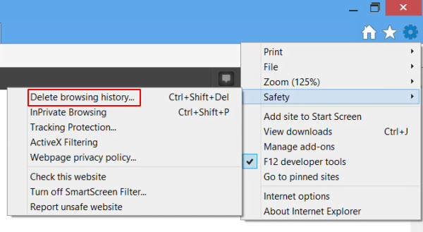 Go to Delete browsing history in IE