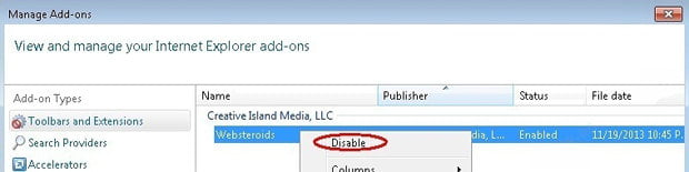 Disable Websteroids add-on in IE
