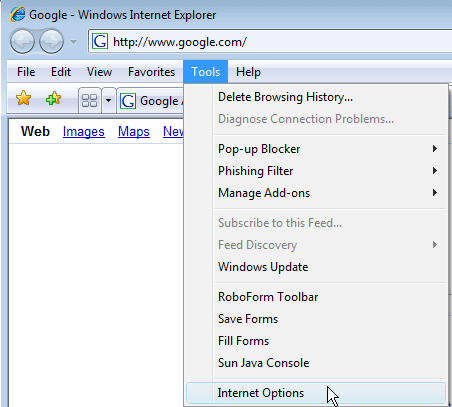 Access Internet Options in IE