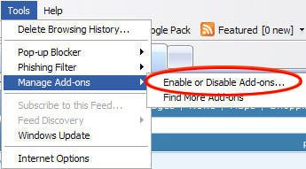 Select 'Enable or Disable Add-ons' option in IE
