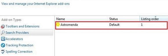 Remove Astromenda from IE search providers