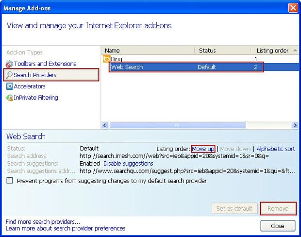 Remove iMesh from search providers