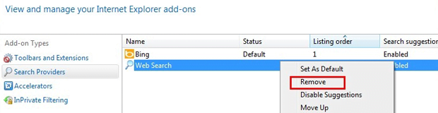 Remove Snap.do Search from search providers list in IE