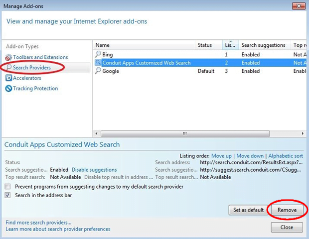 Remove the unwanted search provider from IE