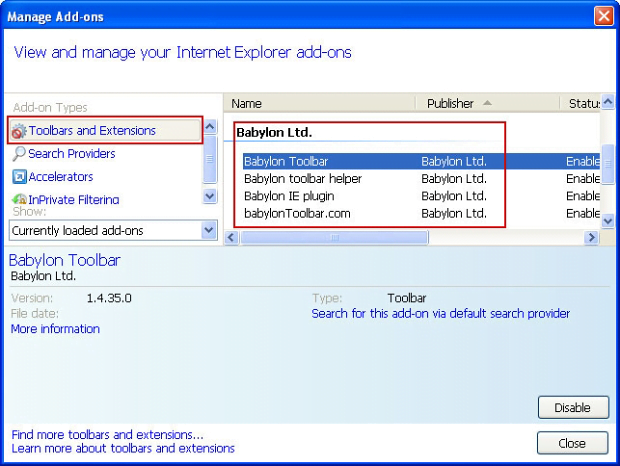 Disable extensions in IE