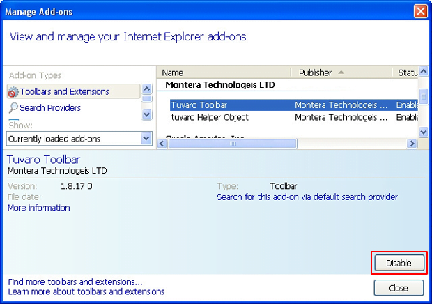Disable Tuvaro Toolbar in IE