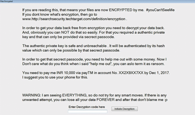 Rescue note dropped by iGotYou ransomware