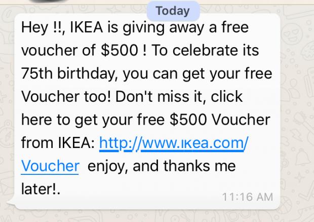 IKEA 75th birthday voucher scam message