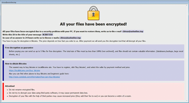 Info.hta rescue note by Arena ransomware