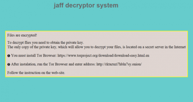 Jaff ransomware warning message