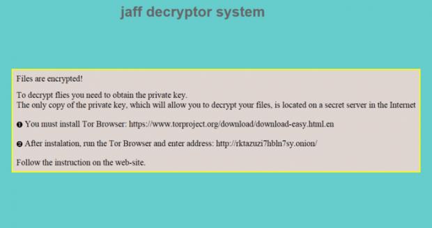 Jaff ransomware warning message