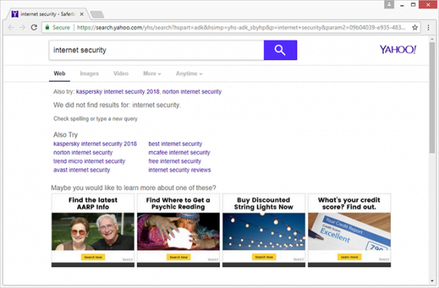 Landing page linked to the search.yahoo.com infection