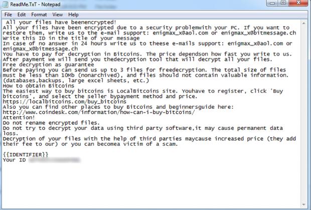 LockCrypt .lock extension variant drops ReadMe.TxT ransom note