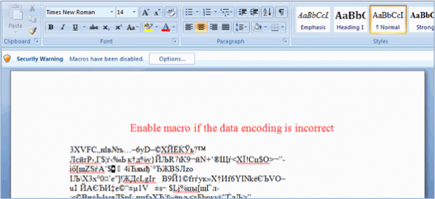 Phony invoice with a prompt to enable macros