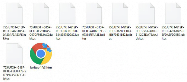 Lukitus ransom note and encrypted .lukitus extension files inside a folder