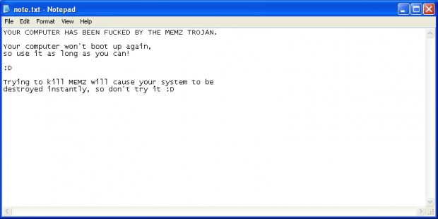 Notepad warning displayed by Memz trojan on an early stage of the attack
