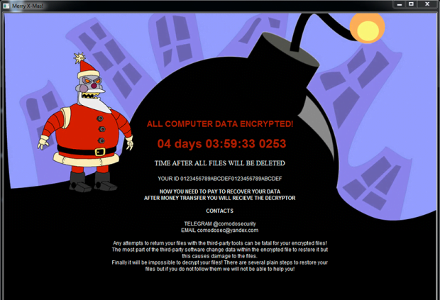 The ransomware launches Merry_I_love_you_bruce.hta app to provide instructions