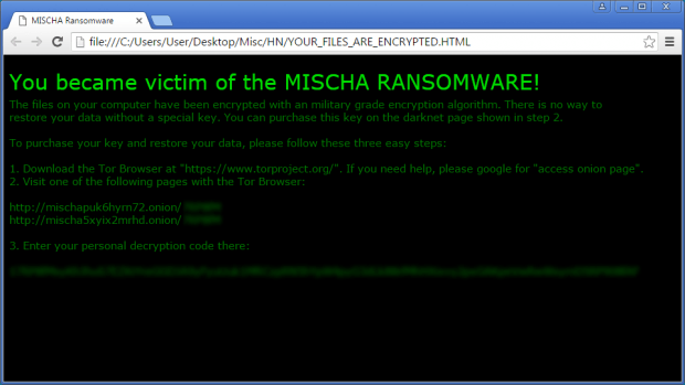 Decryption steps imposed by Mischa ransomware