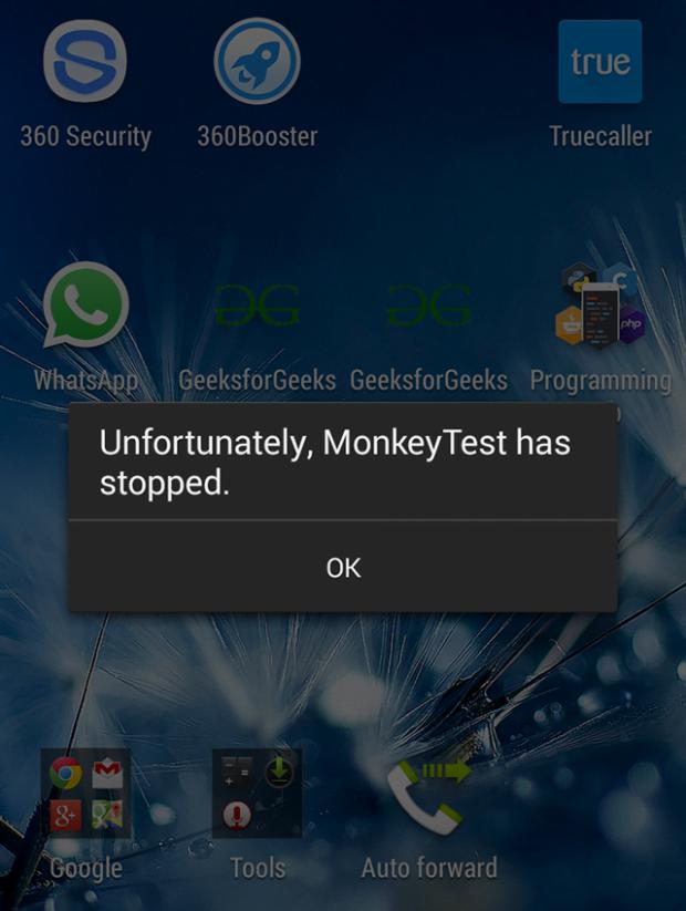 Monkey Test error notification