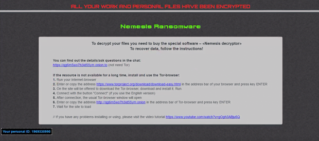 Ransom note pushing the costly Nemesis Decryptor tool