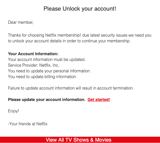Netflix account information update hoax