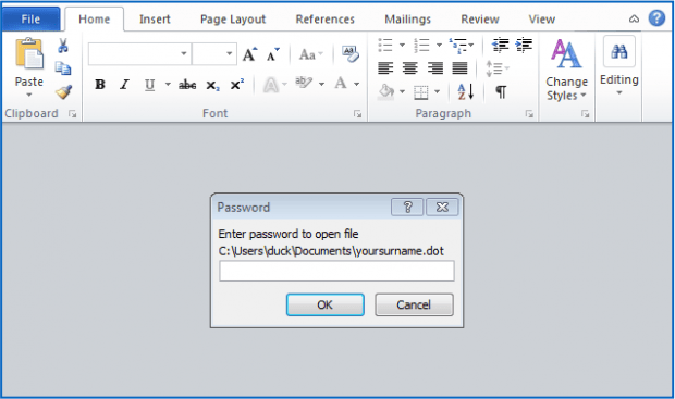 Password prompt to open the .dot file